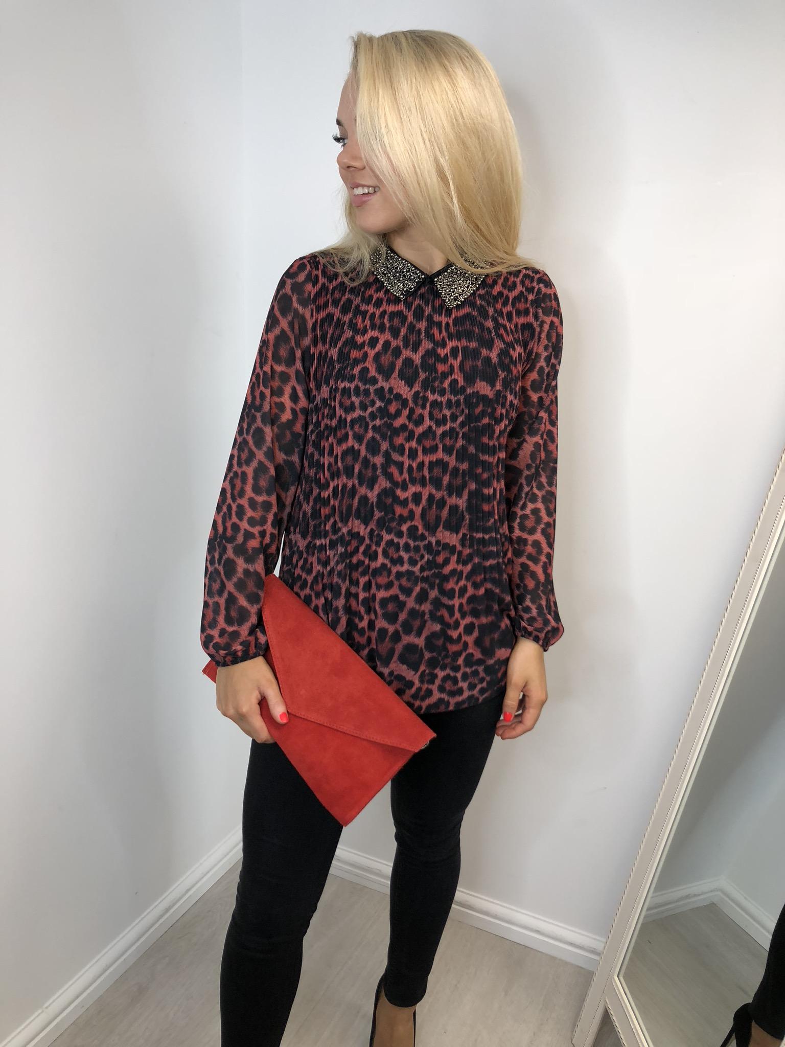 Zara Leopard Print Beaded Top