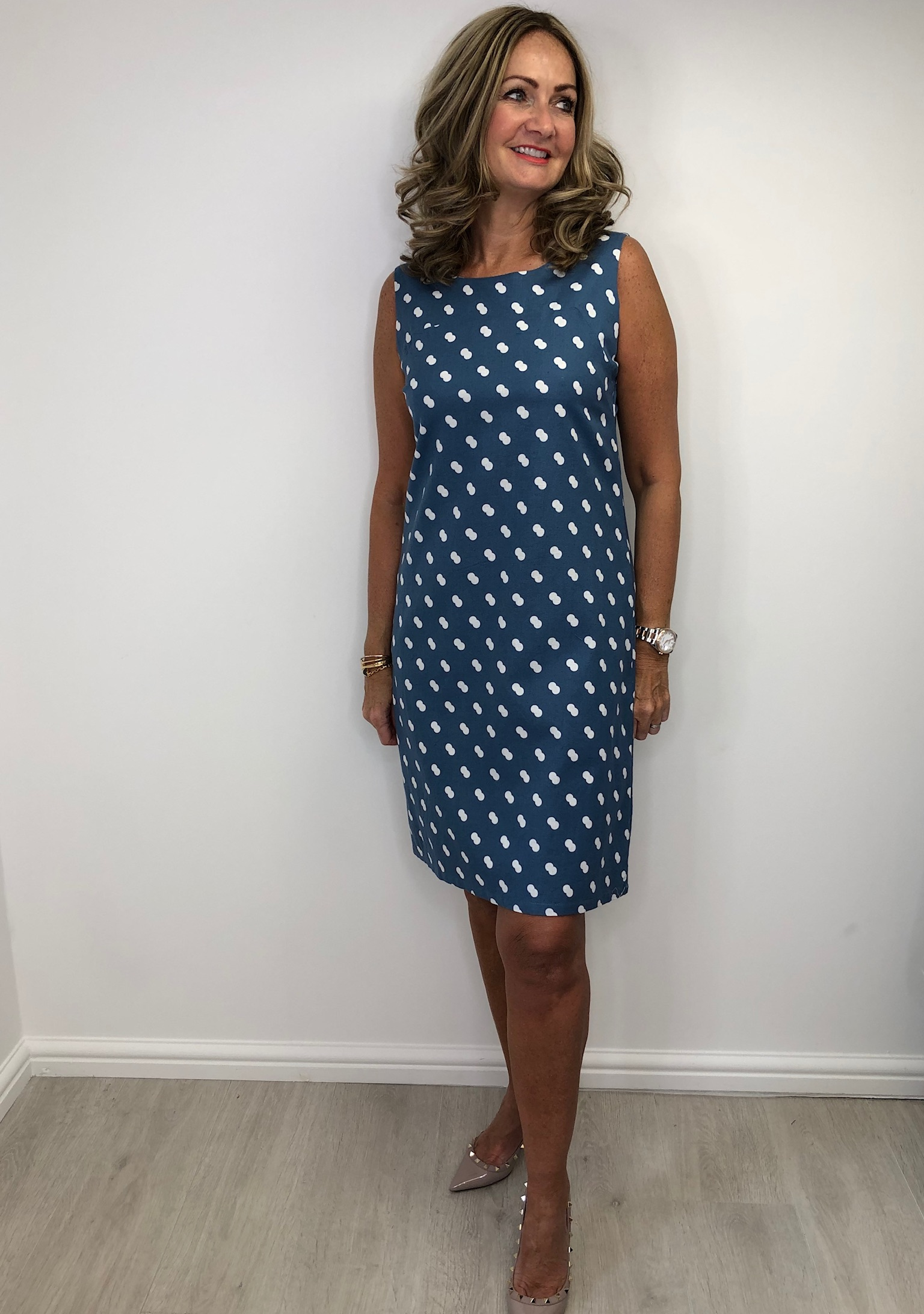 Alice Collins Molly Dress in Dusky Indigo Twin Dot