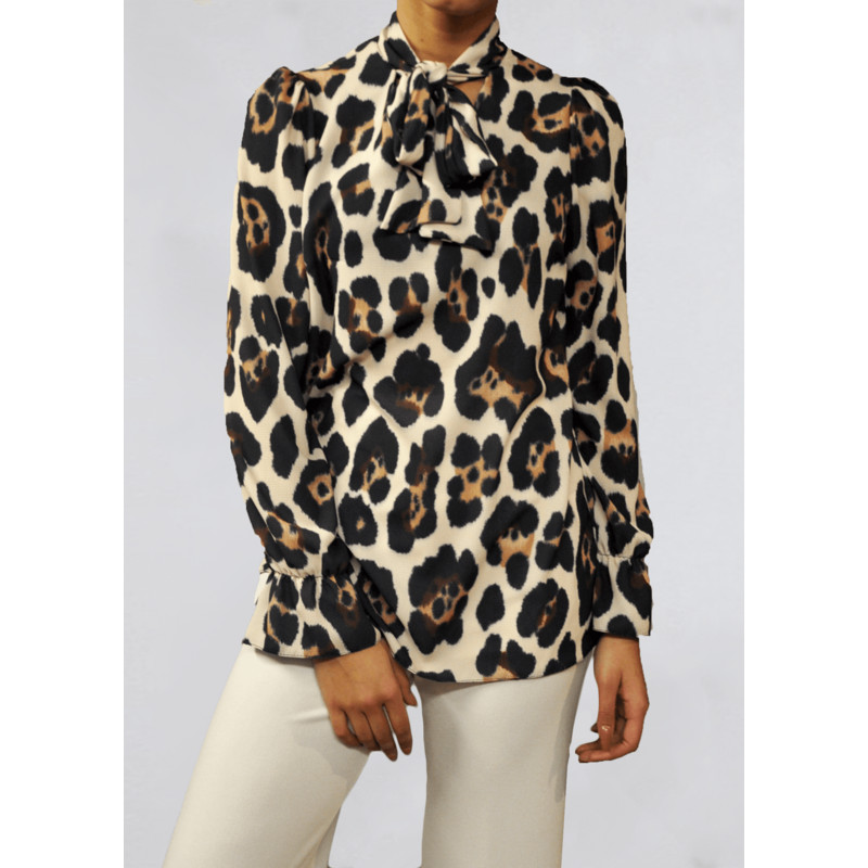 a463ca5289 John Zack Pussy Bow Blouse in Animal Print