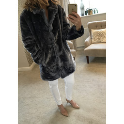 Lucy Cobb Tilly Fur Coat in Blue