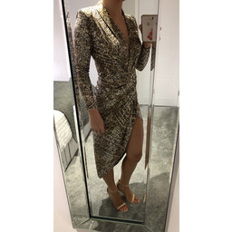 John Zack Long Sleeve Wrap Front Plunge Maxi Dress in Snake Sequin