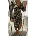 Long Sleeve Wrap Front Plunge Maxi Dress - Leopard Sequin