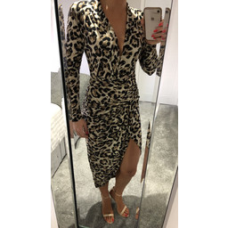 John Zack Long Sleeve Wrap Front Plunge Maxi Dress in Leopard Sequin