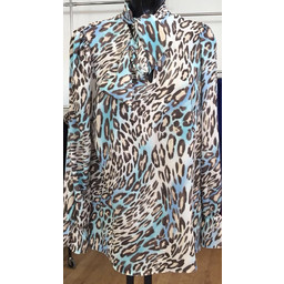 Lucy Cobb Bow Blouse - Blue Animal Print
