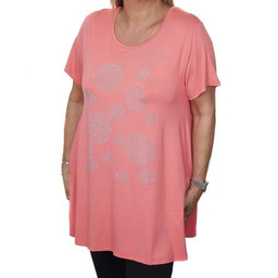 Malissa J Circle Design Swing Jersey Top - Coral