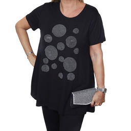 Malissa J Circle Design Swing Jersey Top - Black