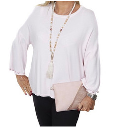 Malissa J Pearl Cuff Jumper - Light Pink