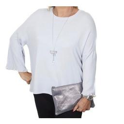Malissa J Pearl Cuff Jumper in Grey