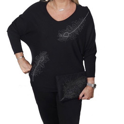 Malissa J Diamante Feather Jumper - Black
