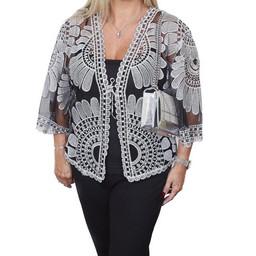 Malissa J Mesh Embroidery Jacket - Black