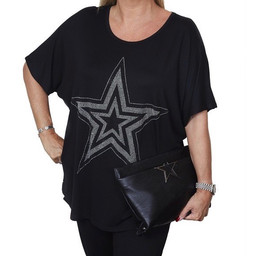 Malissa J Star Jersey Top - Black