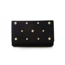 Malissa J Pearl Fold Over Clutch in Black