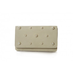Malissa J Pearl Fold Over Clutch - Cream