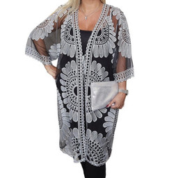 Malissa J Mesh Embroidery Tie Kaftan - Black