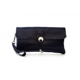 Malissa J Disc Leather Clutch - Navy