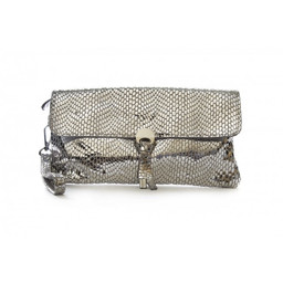 Malissa J Disc Leather Clutch - Silver