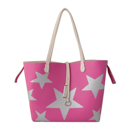 Lucy Cobb Reversible Star Bag with Clutch in Beige Fuchsia