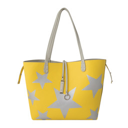 Lucy Cobb Reversible Star Bag with Clutch - Yellow Grey
