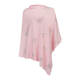 Lucy Cobb Sparkle Star Poncho in Light Pink