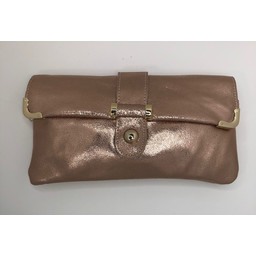 Malissa J Leather Button Clutch - Rose Gold