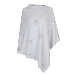 Lucy Cobb Sparkle Star Poncho in Light Grey