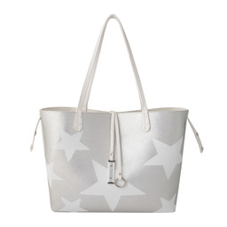 Lucy Cobb Reversible Star Bag with Clutch in White Silver