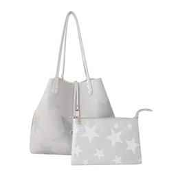 Lucy Cobb Reversible Star Bag with Clutch in Grey Silver
