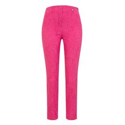 Robell Trousers Rose 09 Jacquard Trousers in Pink