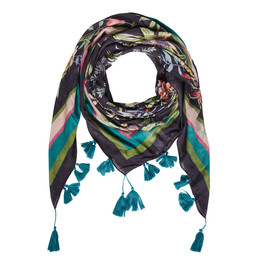 Oui Floral Tassel Scarf - Navy Mix