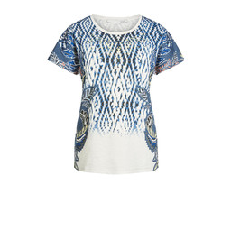 Oui Feather Printed T Shirt - Blue