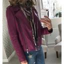 Leather Biker Jacket - Purple