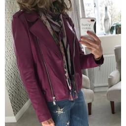 Oui Leather Biker Jacket - Purple