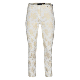Robell Rose 09 Floral Metallic Trousers in Metallic Gold