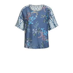 Oui Printed Leaf Top - Blue