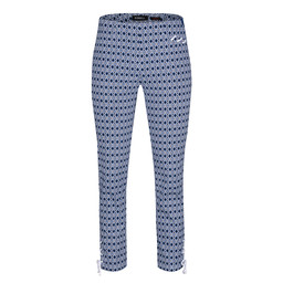 Robell Rose 09 Geo Print Trousers - Navy