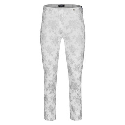 Robell Rose 09 Floral Metallic Trousers in Silver