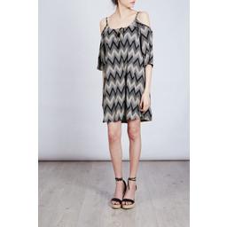 Lucy Cobb Zeta Cold Shoulder Dress - Black mix