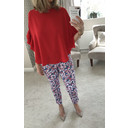 Bella 09 Textured Floral Trousers - Multicoloured