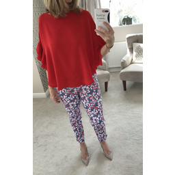 Robell Bella 09 Textured Floral Trousers - Multicoloured