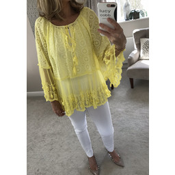 Lucy Cobb Elina Lace Top - Yellow