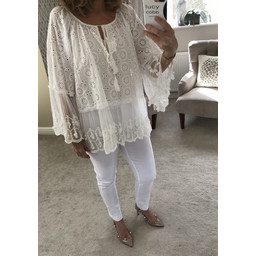 Lucy Cobb Elina Lace Top - White