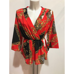 Lucy Cobb Scarf Print Top - Red