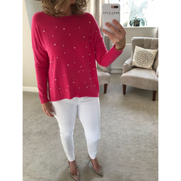 Lucy Cobb Velma Pearl Front Jumper  - Pink