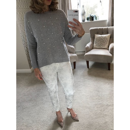 Lucy Cobb Velma Pearl Front Jumper  - Grey