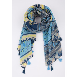Lucy Cobb Aztec Printed Tassel Scarf - Blue