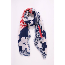 Lucy Cobb Bold Flower Scarf - Blue