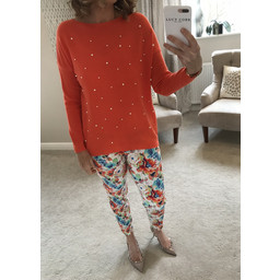 Lucy Cobb Velma Pearl Front Jumper  in Orange