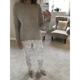 Lucy Cobb Velma Pearl Front Jumper  - Stone