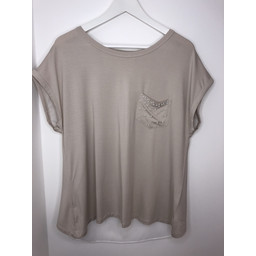 Lucy Cobb Pearl Pocket Tee - Stone