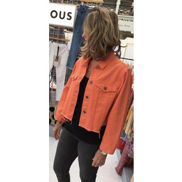 Glamorous Crop Denim Jacket - Orange